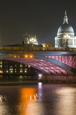 Preview iPhone wallpaper London, river Thames, bridge, cathedral, night, lights