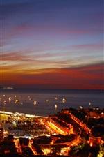 미리보기 iPhone 배경 화면 모나코, 몬테카를로, 밤, 도시, 포트, 조명, 보트
