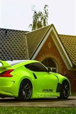 Preview iPhone wallpaper Nissan 370z green car, house