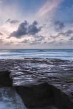 미리보기 iPhone 배경 화면 바다, 파도, 바위, 하늘, 구름, 황혼
