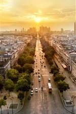 Preview iPhone wallpaper Paris, France, city panorama, evening, sunset, houses, roads, cars