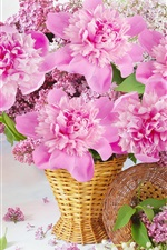 Preview iPhone wallpaper Pink flowers, basket, peonies, lilac