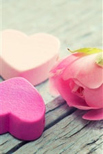 Preview iPhone wallpaper Pink rose flower, petals, love hearts