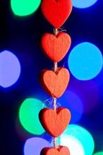 미리보기 iPhone 배경 화면 빨간 사랑 마음, 조명, 나뭇잎