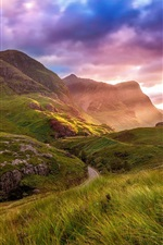 Preview iPhone wallpaper Scotland, Highland Valley, mountain, road, clouds, sky, sunset