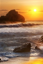 Preview iPhone wallpaper Sea, stones, waves, sunrise, dawn