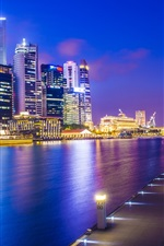 Preview iPhone wallpaper Singapore, Asia city, night, dock, skyscrapers, lights