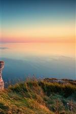 Preview iPhone wallpaper Sunset, cliffs, sea, coast, Etretat, France