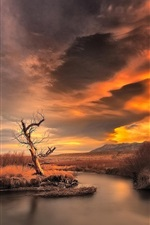 Preview iPhone wallpaper Sunset, dusk, mountain, river, nature scenery