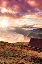 Preview iPhone wallpaper Switzerland, mountains, house, clouds, sunrise