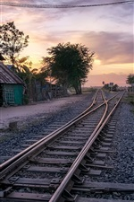 Village, railway, house, dusk, Cambodia