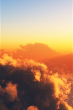 Preview iPhone wallpaper Warm sky, clouds, sun, sunset