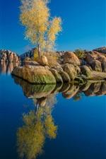 Preview iPhone wallpaper Watson Lake, Arizona, USA, stones, trees, water reflection