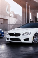 Preview iPhone wallpaper White BMW M6 and blue Nissan GT-R cars
