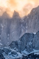 Preview iPhone wallpaper Winter, mountains, snow, clouds, dusk, top view