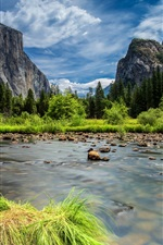 Preview iPhone wallpaper Yosemite National Park, Sierra Nevada mountains, lake, forest, trees