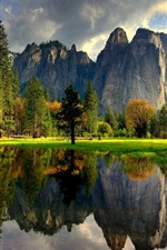 Preview iPhone wallpaper Yosemite National Park, USA, lake, water reflection, trees, grass, mountains
