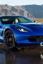 Preview iPhone wallpaper 2014 Chevrolet Corvette C7 blue supercar