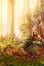 Preview iPhone wallpaper Art painting, fox, forest, trees, grass, rocks