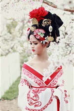 Asian girl, retro style, flowers, spring