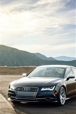 Preview iPhone wallpaper Audi S7 black car front view, clouds