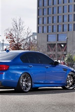 Preview iPhone wallpaper BMW M5 F10 blue car back view