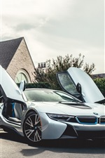 Preview iPhone wallpaper BMW i8 silvery Electric Hybrid car