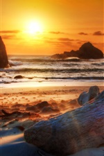 Preview iPhone wallpaper Beach, coast, sea, mountains, rocks, sunset