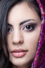 Preview iPhone wallpaper Beautiful Indian girl, brown eyes, face, scarf