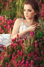 Preview iPhone wallpaper Beautiful girl, flowers field, summer