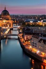 Preview iPhone wallpaper Berlin, Germany, city, night, lights, buildings, river