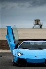 Azul Lamborghini Aventador supercar, portas abertas