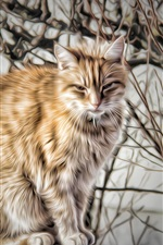 Preview iPhone wallpaper Cat in forest, art pictures