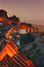 Preview iPhone wallpaper China, sky, mountain, old town, roof, night lights
