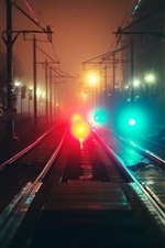 City, night, rails, fog, bokeh, colorful lights