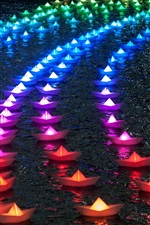 Preview iPhone wallpaper Colorful paper boats, rainbow color, night