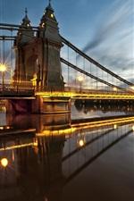 Preview iPhone wallpaper England, London, Hammersmith, bridge, lights, river, night