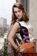Fashion girl, city, balcony, clothing, house