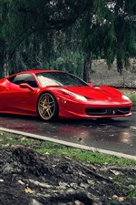 Preview iPhone wallpaper Ferrari 458 Italia red supercar, road