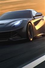 미리보기 iPhone 배경 화면 페라리 F12 블랙 초차, 속도, 도로, 일몰
