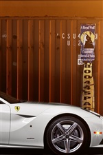 Preview iPhone wallpaper Ferrari F12 white supercar side view