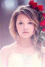 미리보기 iPhone 배경 화면 미술, 귀여운 소녀 초상화, 빨간 장미