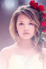 Artes Plásticas, menina bonito, retrato, rosa vermelha