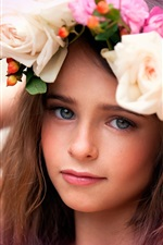 Flowers, girl, wreath, beautiful child