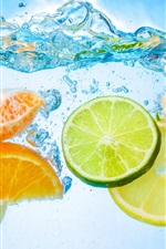 Preview iPhone wallpaper Fruit cut piece, water, citrus, close-up