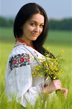 Preview iPhone wallpaper Girl in the fields, summer, flowers