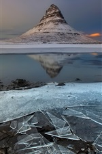 Preview iPhone wallpaper Iceland, mountain, ice, dusk
