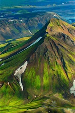 Preview iPhone wallpaper Iceland, mountains, hills, green