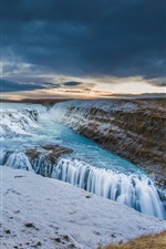 Iceland, river, sky, clouds, sunset, waterfall