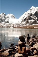 India, Himalayas, lake, ice, rocks